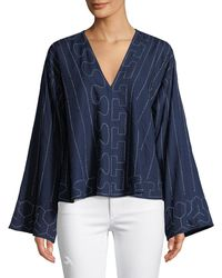 Elizabeth and James - Orchid Geometric Wide-sleeve Top - Lyst