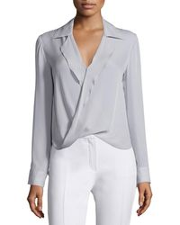 L'Agence - Rita Collared Silk Blouson Top - Lyst