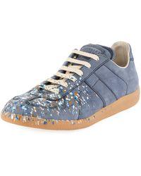 Maison Margiela - Replica Paint-splatter Suede Low-top Sneaker - Lyst