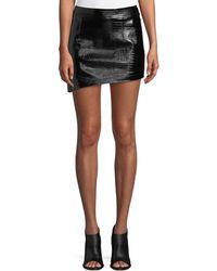Helmut Lang - Croc-embossed Leather Mini Skirt - Lyst