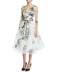 Monique Lhuillier - Long-sleeve Floral-embroidered Tulle Illusion Dress - Lyst
