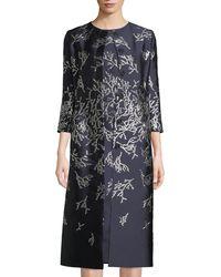 Oscar de la Renta - Button-front 3/4-sleeve Metallic-coral Embroidered Mid-length Coat - Lyst