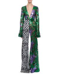 Halpern - Deep-v Bell-sleeve Abstract Floral & Zebra Sequin Flared-leg Jumpsuit - Lyst
