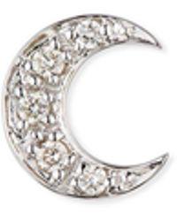 Sydney Evan - 14k Pave Diamond Crescent Moon Single Stud Earring - Lyst
