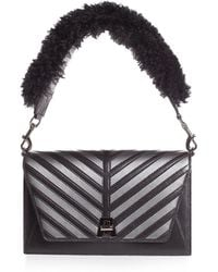 Akris - Anouk Small City Oversize-herringbone Shoulder Bag With Fur Strap - Lyst