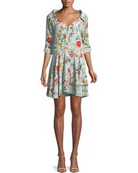 Alice + Olivia - Moore Button-down Layered Floral-print Silk Tunic Dress - Lyst