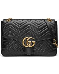 428661540324 Gucci - GG Marmont Large Chevron Quilted Leather Shoulder Bag - Lyst