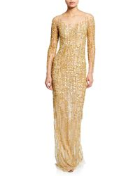 Pamella Roland - Long-sleeve Embroidered Illusion Gown - Lyst