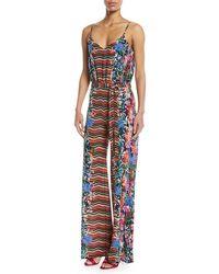 Saloni - Loretta V-neck Wide-leg Printed Silk Jumpsuit - Lyst