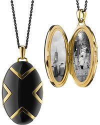 Monica Rich Kosann - Oval Black Ceramic Chevron Locket - Lyst