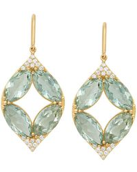 Jamie Wolf - 18k Marquise Oval Aladdin Earrings W/ Green Amethyst & Diamonds - Lyst