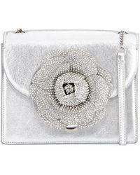 Oscar de la Renta - Mini Gardenia Metallic Leather Crossbody Bag - Lyst