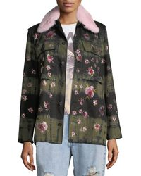 Libertine - Crystal-flower Fur-collar Button-front Army Jacket - Lyst