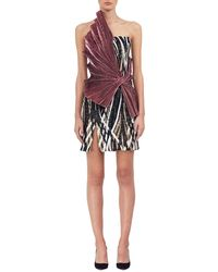 Halpern - Strapless Sequined Cocktail Dress W/lamé Sash - Lyst