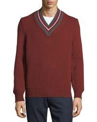 Zegna Sport | Stripe-neck Wool Sweater | Lyst