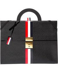 Thom Browne - Trompe L'oeil Slim Leather Attache Case - Lyst