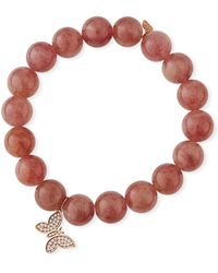Sydney Evan - Muscovite & Diamond Butterfly Bracelet - Lyst