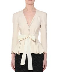 Stella McCartney - V-neck Tie-waist Stretch-cady Peplum Blouse - Lyst