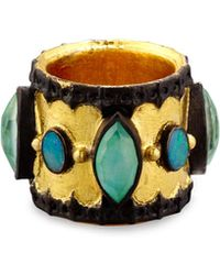 Armenta - Old World Midnight Scalloped Cigar Ring With Boulder Opals - Lyst