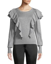 Veronica Beard - Centre Ruffle Frills Crewneck Metallic-knit Sweater - Lyst