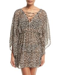 Tommy Bahama - Cat Meow Lace-front Open-back Tunic Coverup - Lyst
