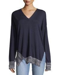 10 Crosby Derek Lam - V-neck Long-sleeve Silk-blend Pullover Sweater - Lyst