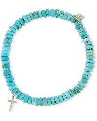 Sydney Evan | 14k Turquoise Beaded Stretch Bracelet W/ Cross Charm | Lyst