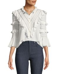 Rebecca Taylor - Long-sleeve Button-front Silk Lace Top - Lyst