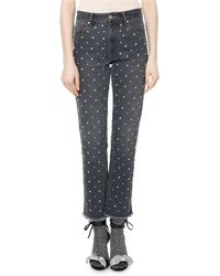 Isabel Marant - Ulano Crystal-studded Cropped Straight-leg Jeans - Lyst