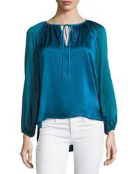 Elie Tahari | Mariella Colorblocked Silk & Velvet Blouse | Lyst