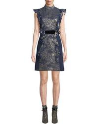 J. Mendel - Flutter-sleeve Metallic-jacquard Open-back Dress - Lyst