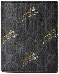 656d732ba Gucci Bestiary Embroidered Tiger Face Leather Wallet in Black for Men - Lyst