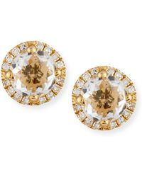 EF Collection - White Topaz & Diamond Halo Stud Earrings - Lyst