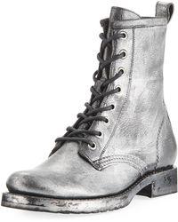 Frye - Veronica Metallic Leather Combat Booties - Lyst