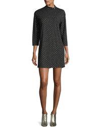 Marc Jacobs - Mock-neck 3/4-sleeve Polka-dot Dress - Lyst