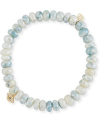 Sydney Evan - 7mm White Corundum Beaded Bracelet Wth Mini Bezel Eye Charm - Lyst