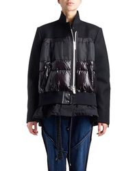 Sacai - Stand-collar Zip-front Coat With Puffer Combo - Lyst