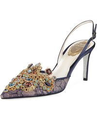 Rene Caovilla - Embroidered Lace/satin Halter Slingback Pumps - Lyst