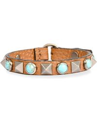 Valentino - Rockstud Rolling Leather Bracelet - Lyst