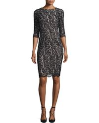 Carolina Herrera - Half-sleeve Lace Sheath Dress - Lyst