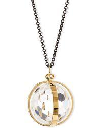 Monica Rich Kosann - 18k Gold & Black Steel Carpe Diem Crystal Pendant Necklace - Lyst