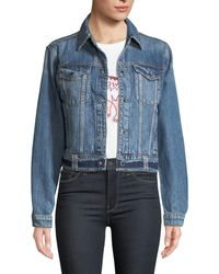 Hudson Jeans - Cropped Snap-front Denim Trucker Jacket - Lyst