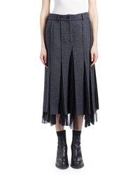 Sacai - Glen Check Wool Godet Midi Skirt - Lyst