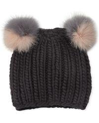 8a1590b8efe Lyst - Eugenia Kim Black Mimi Double Pom Pom Wool Beanie in Black