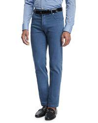 Kiton - Washed Stretch-denim Straight-leg Jeans - Lyst