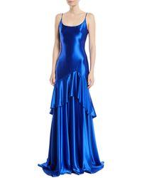 THEIA - Satin Slip Gown W/ Flounce Skirt - Lyst