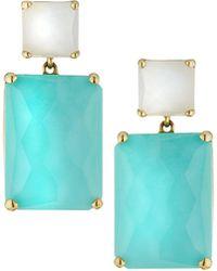 Ippolita - Rock Candy® Snowman 18k Rectangle Drop Earrings In Pearl/turquoise - Lyst