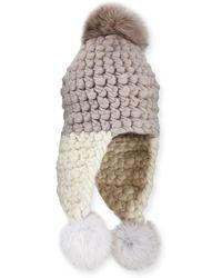 Mischa Lampert - Chunky-knit Wool Pompom Trapper Hat - Lyst