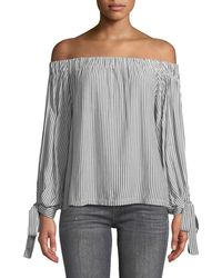 7 For All Mankind - Off-the-shoulder Tie-cuff Striped Top - Lyst