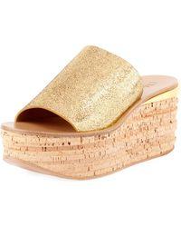 Chloé - Metallic Leather Wedge Slide Sandal - Lyst